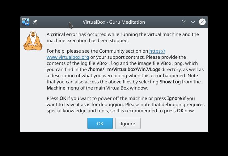 Virtualbox guru meditation error